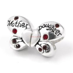 1 Set 925 Sterling Silver Butterfly Mother and Daughter Love Red CZ Crystal Bead for European Charm Bracelets