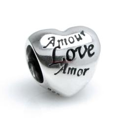 Sterling Silver Amor Valentine Heart Bead for European Charm Bracelets