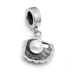 1x 925 Sterling Silver Fresh Water Pearl Dangle Pendant Bead for European Charm Bracelets