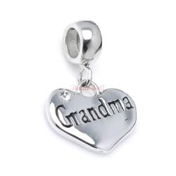 925 Sterling Silver Love Grandma Family Heart Dangle CZ Crystal Pendant Bead for European Charm Bracelets