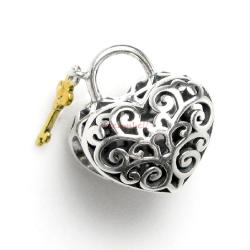 1x 14k Gold Over 925 Sterling Silver Love Heart Lock Key Valentine Bead for European Charm Bracelets