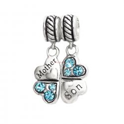 1 Set Sterling Silver Mother & Son Love Heart Light Blue CZ Clover Dangle Pendant Bead for European Charm Bracelets