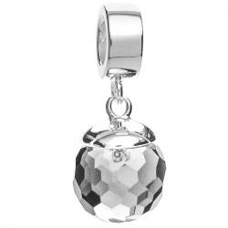 925 Sterling Silver Clear CZ Crystal Disco Ball Dangle Pendant Bead for European Charm Bracelets