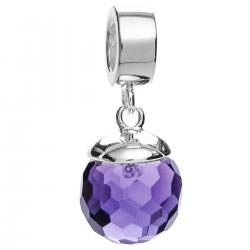 925 Sterling Silver Purple CZ Crystal Dangle Pendant Bead for European Charm Bracelets