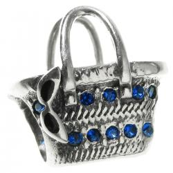 1x Antique 925 Sterling Silver Easter Picnic Basket Blue CZ Crystal Bead for European Charm Bracelets