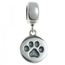 1x Antique 925 Sterling Silver Round Dog Paw Puppy Dangle Charm Bead Pendant for European Charm Bracelets