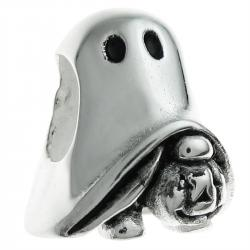 .925 Sterling Silver Halloween Spirit Ghost Pumpkin Bead for European Charm Bracelet