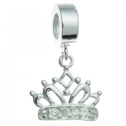 .925 Sterling Silver Crown Clear CZ Crystal Dangle Bead for European Charm Bracelet