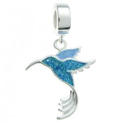 925 Sterling Silver Hummingbird Bird Enamel Dangle Bead for European Charm Bracelets