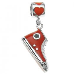 Rhodium on 925 Sterling Silver Love Sneaker Shoe Red Enamel Dangle Bead for European Charm Bracelet