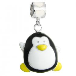 Rhodium on Sterling Silver Lovely Penguin White Black Yellow Enamel Dangle Bead for European Charm Bracelet