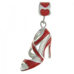 Rhodium on Sterling Silver High Heel Shoe Red Enamel Dangle Bead for European Charm Bracelet