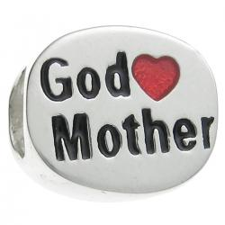 .925 Sterling Silver Love God Mother Heart Enamel Bead for European Charm Bracelets