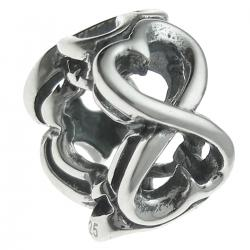 Antique 925 Sterling Silver Endless Love Heart Valentine Bead for European Charm Bracelets