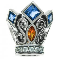 Antique 925 Sterling Silver the King's Crown Blue Orange CZ Crystal Bead for European Charm Bracelets