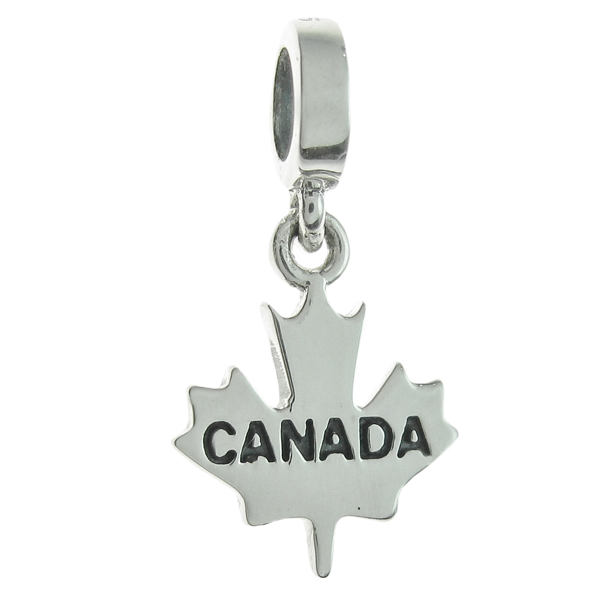 925 Sterling Silver Canada Maple Leaf Dangle Bead for European Charm Bracelets