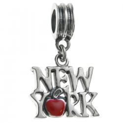 Antique 925 Sterling Silver New York City the Big Apple Red Enamel Dangle Bead for European Charm Bracelets