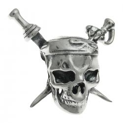 Antique 925 Sterling Silver Skull Pirates of the Caribbean Bead for European Charm Bracelets