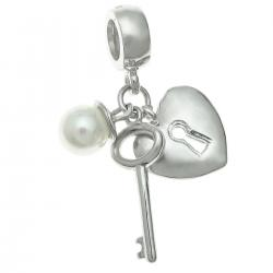 925 Sterling Silver Heart Lock Key Seashell Pearl Dangle Bead for European Charm Bracelets