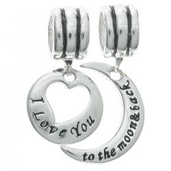 "925 Sterling Silver ""I Love You to the Moon & Back"" Dangle Bead for European Charm Bracelets"