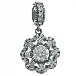 925 Sterling Silver Spring Flower Clear CZ Crystal Dangle Pendant Bead for European Charm Bracelets
