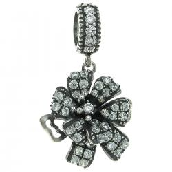 925 Sterling Silver Mother's Flower Corsage Clear CZ Crystal Dangle Bead for European Charm Bracelets