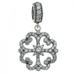 925 Sterling Silver Lucky 4 Heart Leaf Clover Flower Clear CZ Crystal Dangle Pendant Bead for European Charm Bracelets
