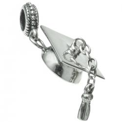 Antique 925 Sterling Silver Graduation Hat Cap Dangle Bead for European Charm Bracelets