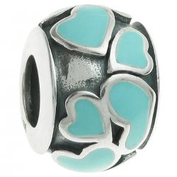 925 Sterling Silver Heart Full of Love Round Green Enamel Bead for European Charm Bracelets