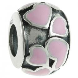 925 Sterling Silver Heart Full of Love Bead Pink Enamel for European Charm Bracelets