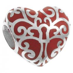 925 Sterling Silver Tree of Love Heart Red Enamel Bead for European Charm Bracelets