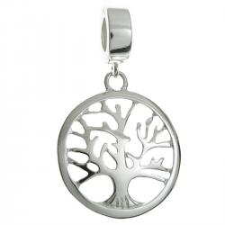 925 Sterling Silver Family Tree of Life Round Dangle Bead for European Charm Bracelets
