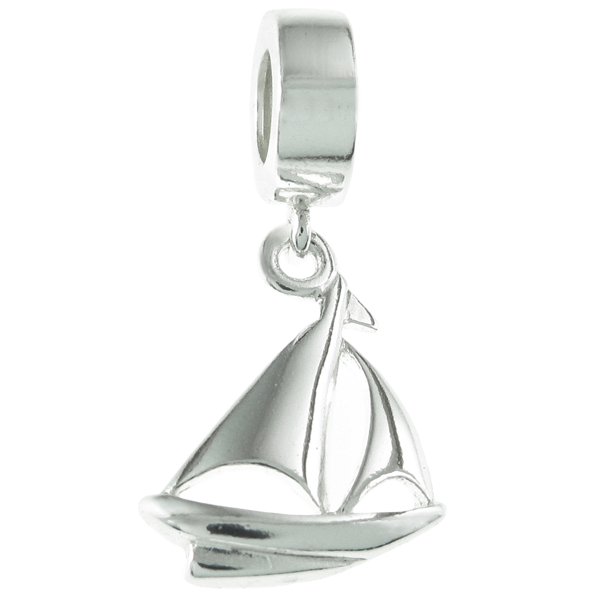 925 Sterling Silver Yacht Sailboat Dangle Bead for European Charm Bracelets