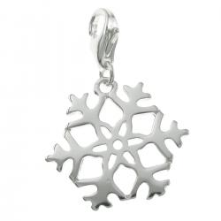 925 Sterling Silver Winter Snowflake Dangle Bead Pendant European Lobster Clip on Charm