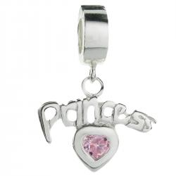 925 Sterling Princess Love Heart Pink CZ Crystal Dangle Bead for European Charm Bracelets