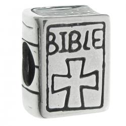 Antique 925 Sterling Silver Christian Bible Book Cross Bead for European Charm Bracelets