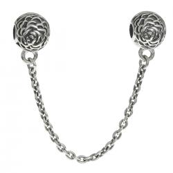 Antique Sterling Silver Round Rose Stopper Clip Lock Safety Chain Bead for European Charm Bracelets