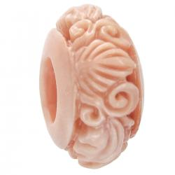 1x Simulated Pink Coral Round Flower Leaf Bead for European Charm Bracelets