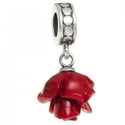 1x Antique Sterling Silver Simulated Red Coral Rose Dangle Bead for European Charm Bracelets