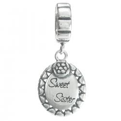 1x Antique Sterling Silver Daisy Flower Sweet Sister Dangle Bead for European Charm Bracelets