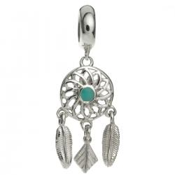 925 Sterling Silver Dream Catcher Flower Feather Enamel Dangle Bead for European Charm Bracelets