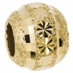Gold-tone 925 Sterling Silver Snowflake Disco Stardust Bead for European Charm Bracelets 10mm