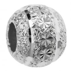 Rhodium on 925 Sterling Silver Snowflake Disco Stardust Bead for European Charm Bracelets 10mm