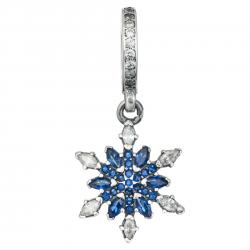 1x Antique Sterling Silver Snowflake Blue CZ Crystal Dangle Bead for European Charm Bracelets