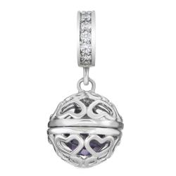 Rhodium on 925 Sterling Silver February Birthstone Purple CZ Dangle for European Charm Bracelets