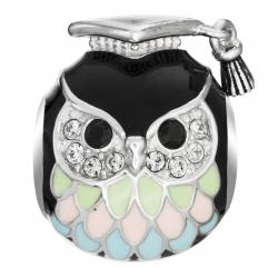 Rhodium on 925 Sterling Silver Owl Bird Graduation Enamel Bead for European Charm Bracelets Made with Swarovski Crystals