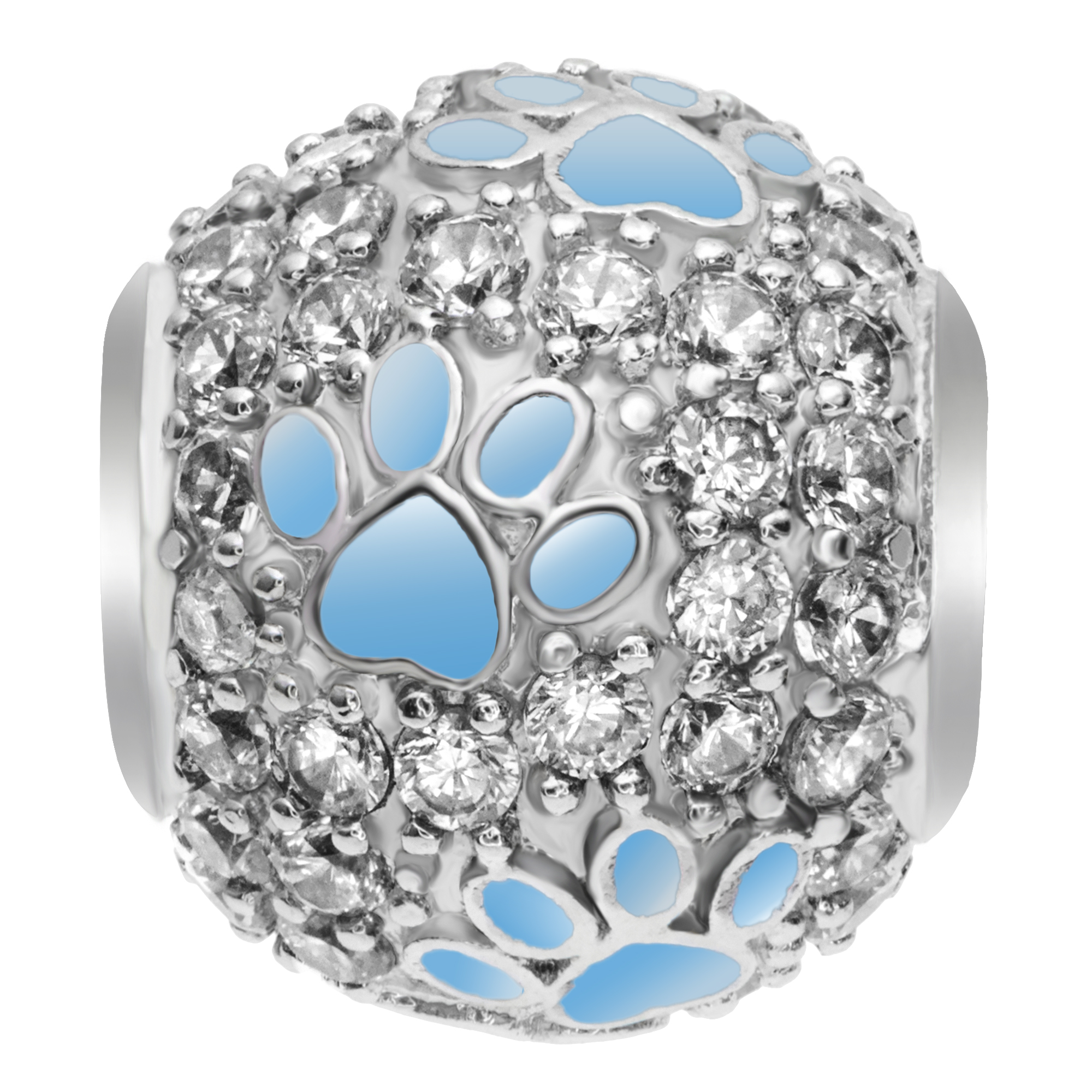 Rhodium on 925 Sterling Silver Blue Enamel Puppy Dog Paw Footprint Bead for European Charm Bracelets Made of Swarovski Elements Crystals