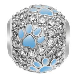 Rhodium on 925 Sterling Silver CZ Blue Enamel Puppy Dog Paw Footprint Bead for European Charm Bracelets
