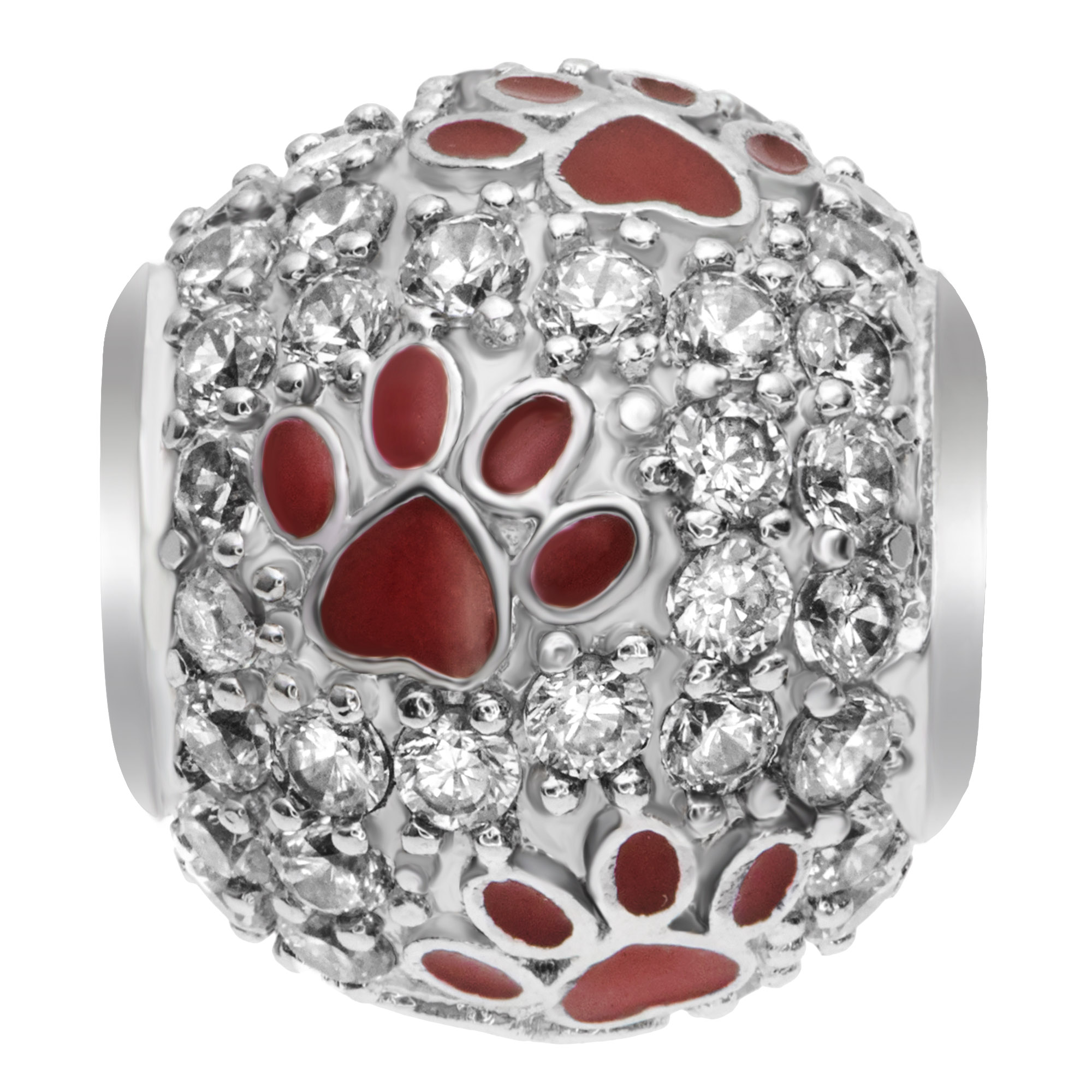 Rhodium on 925 Sterling Silver Red Enamel Puppy Dog Paw Footprint Bead for European Charm Bracelet Made with Swarovski Elements Crystals