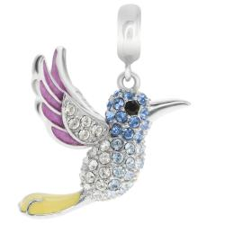 Rhodium on 925 Sterling Silver Hummingbird Enamel Dangle for European Charm Bracelets Made with Swarovski Crystals